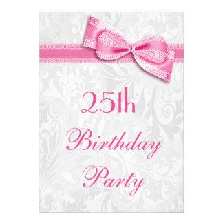 25ème Damassé de fête d'anniversaire et arc rose d Faire-part Personnalisés