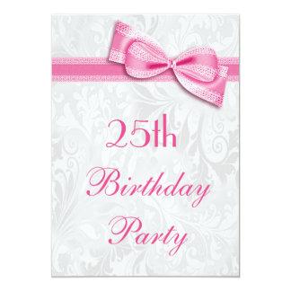 25ème Damassé de fête d'anniversaire et arc rose Carton D'invitation 12,7 Cm X 17,78 Cm