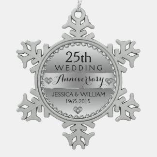 25ème Diamants et argent blancs d'anniversaire de Ornement Flocon De Neige Pewter