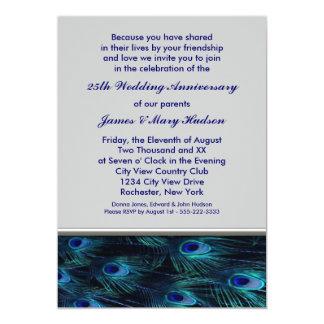 25ème fête d'anniversaire de mariage de paon carton d'invitation  12,7 cm x 17,78 cm