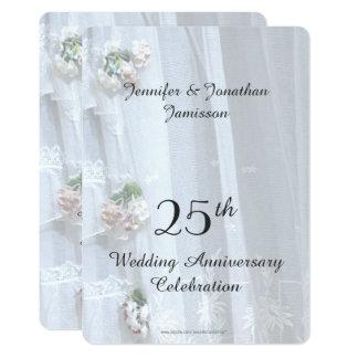 25ème Fête d'anniversaire de mariage, dentelle Carton D'invitation 12,7 Cm X 17,78 Cm