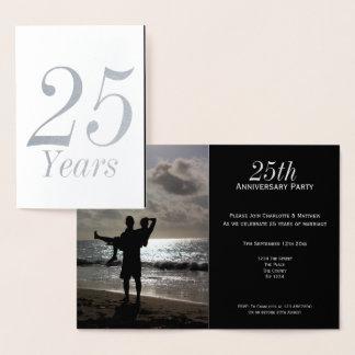 25ème Fête d'anniversaire de noces d'argent Carte Dorée