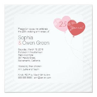 25ème fête d'anniversaire de noces d'argent de carton d'invitation  13,33 cm