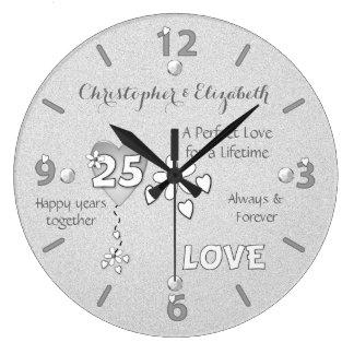 25ème horloge personnalisée d'anniversaire de