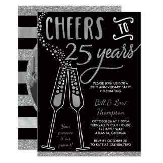 25ème Invitation d'anniversaire, scintillement de