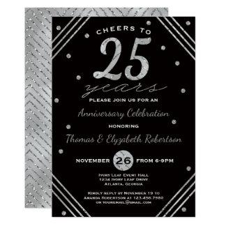 25ème Invitation de fête d'anniversaire, argent de