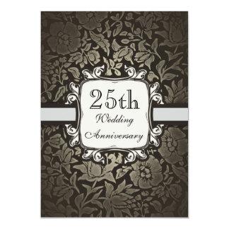 25ème invitation vintage de damassé d'anniversaire