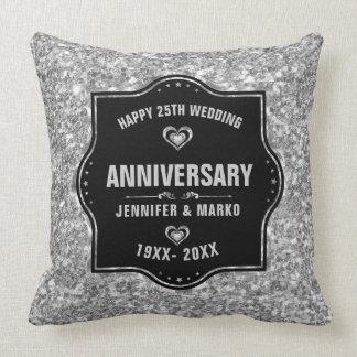 25ème Noir d'anniversaire de mariage et Oreiller