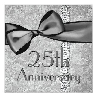 25ème Papier métallique d'arc de satin de Faux Carton D'invitation 13,33 Cm