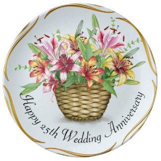 25ème plat heureux de porcelaine d'anniversaire de assiette en porcelaine