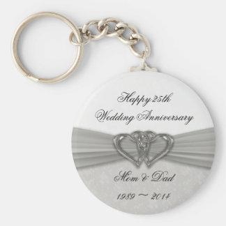 25ème porte - clé d'anniversaire de mariage de porte-clé rond