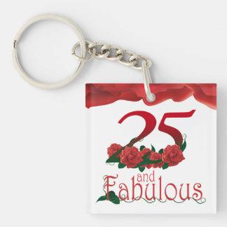 25ème Porte - clé de rose rouge de cadre de photo Porte-clé Carré En Acrylique Double Face