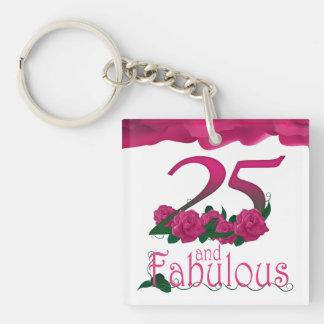 25ème Porte - clé floral de photo rose de fleur Porte-clé Carré En Acrylique Double Face