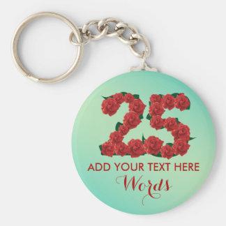 25ème porte - clé personnalisé d'anniversaire de porte-clé rond