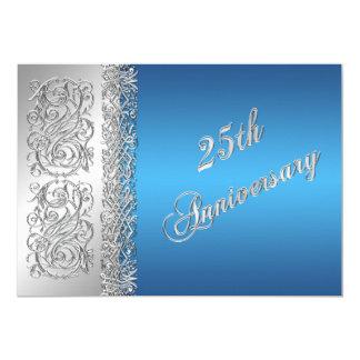 25ème Rouleaux argentés fleuris d'anniversaire Carton D'invitation 12,7 Cm X 17,78 Cm