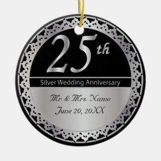 25ème Souvenir d'anniversaire de noces d'argent Ornement Rond En Céramique