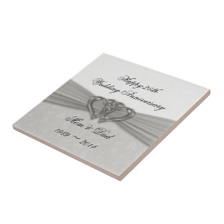 25ème tuile d'anniversaire de mariage de damassé carreau