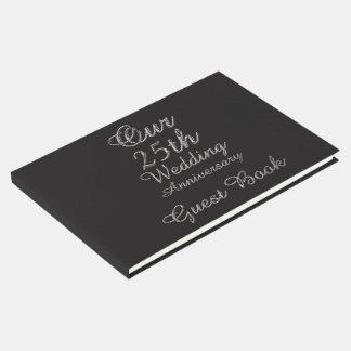 25ème Typographie d'argent de noir d'anniversaire Livre D'or