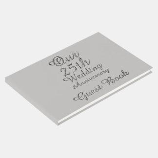 25ème Typographie de gris argenté d'anniversaire Livre D'or