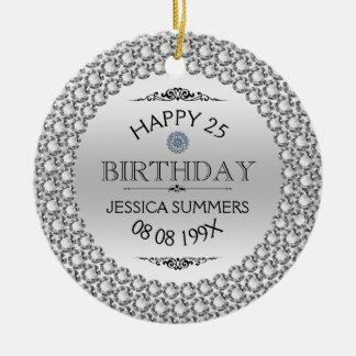 25èmes diamants et argent heureux d'anniversaire ornement rond en céramique