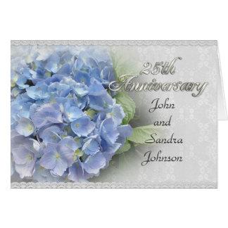 25èmes hortensias d'invitation de fête carte de vœux