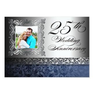 25èmes invitations de photo d'anniversaire de