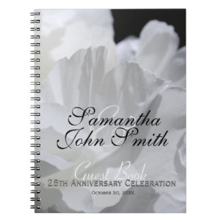 25th Wedding Anniversary Party Peony Guest Book Notebooks