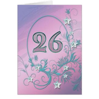 26ème Carte d'anniversaire avec des étoiles de