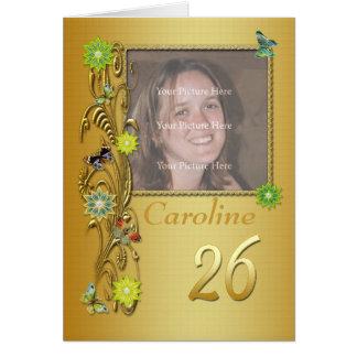 26ème carte d'anniversaire de photo de jardin d'or