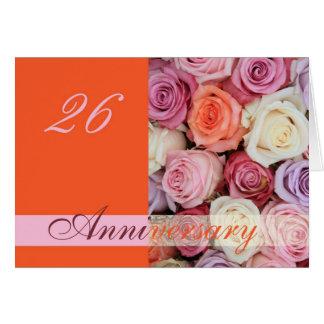 26ème Roses de pastel de carte d'anniversaire de
