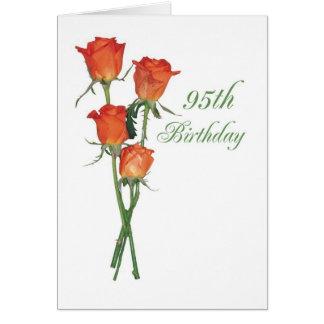 2723 quatre-vingt-quinzième roses heureux d'orange cartes