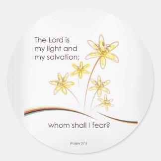 27:1 de psaume le seigneur est ma lumière et mon sticker rond