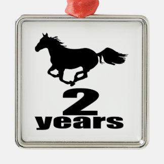 2 ans de conceptions d'anniversaire ornement carré argenté