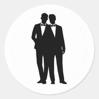 2 autocollants gais de mariage de couples de