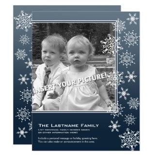 2 flocons de neige vintages bleus de photo géniaux carton d'invitation 10,79 cm x 13,97 cm