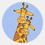 2 girafes adhésif rond