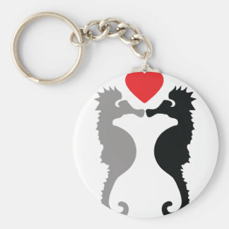 2 hippocampes dans l'icône d'amour porte-clé rond