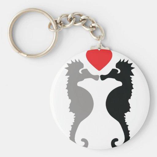 2 hippocampes dans l'icône d'amour porte-clef