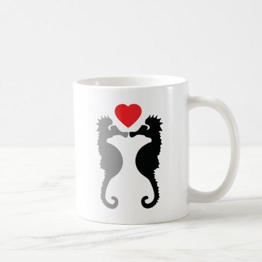 2 hippocampes dans l'icône d'amour mugs à café