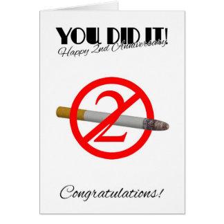 2ème Anniversaire de l'abandon fumant la carte de