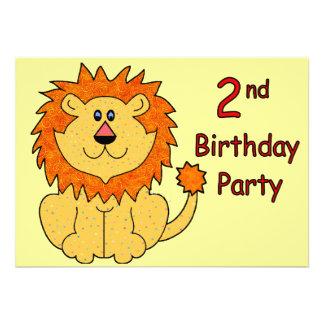 2ème anniversaire de lion mignon bristols personnalisés