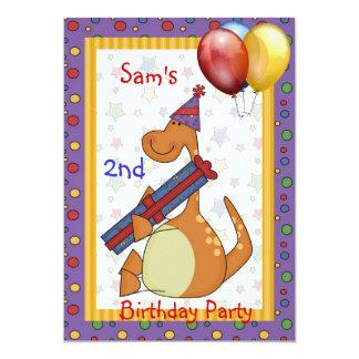 2ème Ballon Brights de présent de dinosaure Carton D'invitation 12,7 Cm X 17,78 Cm
