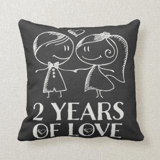 2ème Cadeau de couples de craie d'anniversaire Coussin