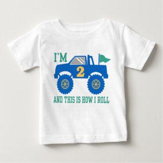 2ème Camion de monstre d'anniversaire T-shirt Pour Bébé