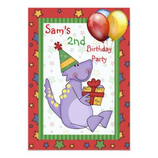 2ème Le présent de ballon de dinosaure Carton D'invitation 12,7 Cm X 17,78 Cm