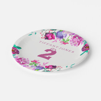 2ème plat de fête d'anniversaire de fille florale assiettes en papier
