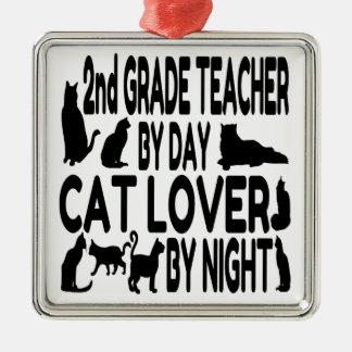 2ème professeur de catégorie d'amoureux des chats ornement carré argenté
