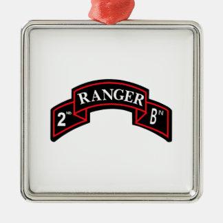 2nd Ranger Battalion - 2ème bataillon de Ranger Ornement Carré Argenté