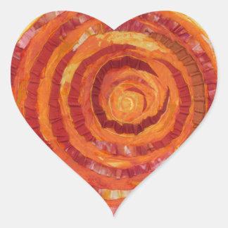 2nd-Sacral Chakra - Peinture-Tissu orange #2 Sticker Cœur