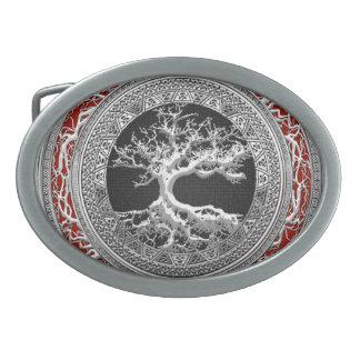 [300] Trésor : Arbre de la vie celtique [argent] Boucle De Ceinture Ovale